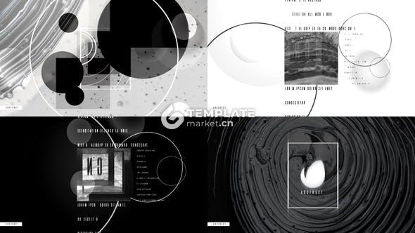 创意黑白圆形组合logo开场展示动画AE模板-素材商社