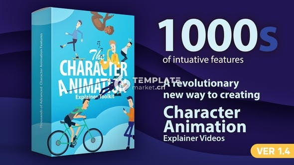 1000种卡通人物角色动画AE工具素材包